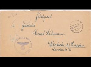 Feldpost II. WK: FPNr. 25 200, stummer Stempel 1940 nach Klotsche bei Dresden