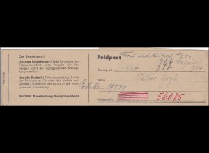 Feldpost II. WK Streifband Kreiszeitung Kempten-Stadt an FPNr. 56 035