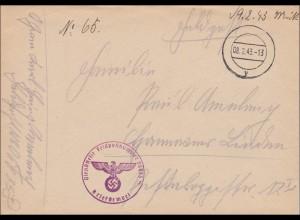 Feldpost II: Weltkrieg: Stummer Stempel 1943, FPNr. 06035D, Niederlande mit Inhalt