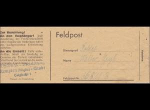 Kreisleitung Kempten - Feldpost Streifband der Kreiszeitung an FPNr. 36 811 B