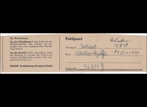 NSDAP Kreisleitung Kempten - Feldpost Streifband der Kreiszeitung an FPNr. 36 811 B, 1943