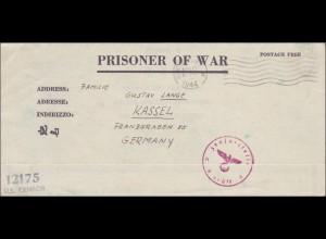 Kriegesgefangenensendung von New York 1944 nach Kassel mit Zensur