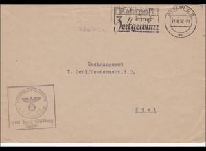 Frei durch Ablösung: Berlin 1937, Werbestempel Rohrpost an Schiffsstammabteilung Kiel