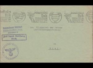 Frei durch Ablösung: Wehrmeldeamt Düsseldorf, Werbestempel Schaffendes Volk, 1937 an Admiral Ostsee Kiel