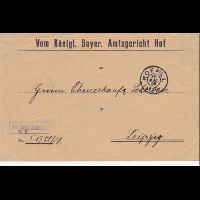 Königlich Bayrisches Amtsgericht Hof nach Leipzig 1908