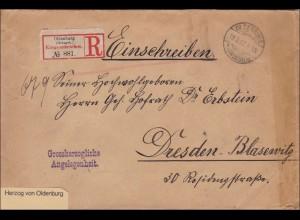 Herzog von Oldenburg, als Einschreiben nach Dresden-Blasewitz 1902