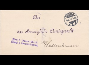 Herzogl. Staatsministerium Gotha 1910 an Amtsgericht Waltershausen