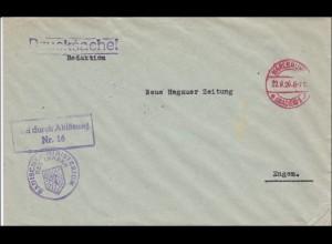 Badisches Ministerium des Innern als Drucksache von Karlsruhe 1926 nach Engen