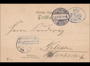 Grossherzogliche Angelegenheit von Schwerin 1902 nach Veltaun