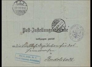Postzustellungsurkunde Coburg 1908 nach Rudolstadt