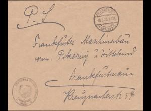 Vignette Deutscher Reichstelegraph, Fürtstl. Telegraphenamt Frankfurt 1923