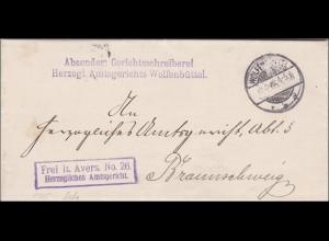 Gerichtsschreiberei Herzogl. Amtsgericht Wolfenbüttel nach Braunschweig 1905