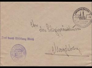 Sächsisches Amtsgericht 1935 Zwickau mit Sonderstempel nach Magdeburg