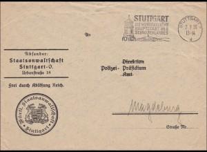 Staatsanwaltschaft Stuttgart 1936 an das Polizeipräsidium Magdeburg