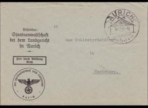 Staatsanwaltschaft Landgericht Aurich nach Magdeburg 1937 mit Sonderstempel