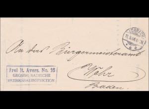 Grossherzogliche Badische Bezirksbauinspektion 1906 von Lörrach nach Wehr/Baden
