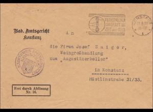 Badisches Amtsgericht Konstanz an Weingroßhandlung Augustinerkeller 1930
