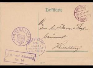 Badische Landes-Hauptkasse Karlsruhe 1925 nach Heidelberg