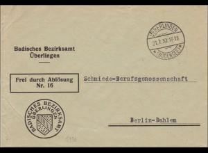 Badisches Bezirksamt Überlingen/Bodensee nach Berlin-Dahlem - Schmiede