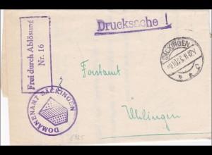 Domänenamt Säckingen als Drucksache 1925 nach Uhlingen