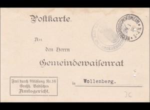 Amtsgericht Neckar-Bischofsheim 1918 nach Wollenberg