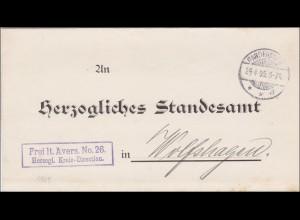 Herzogliche Kreis Direktion an Standesamt 1905 Gandersheim nach Wolfshagen