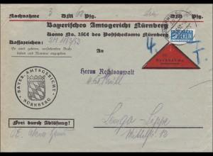 Frei Ablösung .. Amtsgericht Nürnberg 1952 Nachnahmebrief nach Lemgo-Lippe