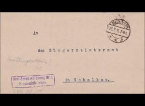 Staatsministerium Meiningen 1919 nach Schalkau