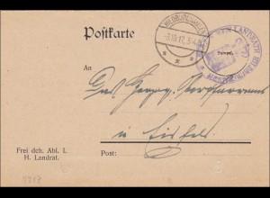 Postkarte Hildburghausen 1917 nach Eisfeld