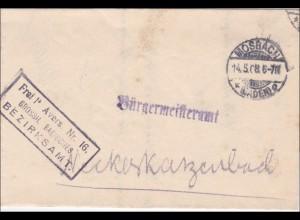 Badisches Bezirksamt Mosbach an Bürgermeisteramt Neckargerach 1908