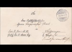 Dermbach/Feldabahn 1904 an Bürgermeister Streit