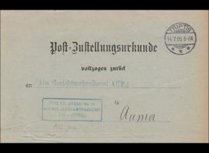 Postzustellurkunde 1905 von Triptis nach Auma