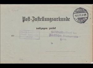 Postzustellurkunde Neustadt/Orla nach Gera 1911
