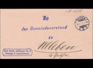 Landratsamt Gotha 1911 an den Gemeinde Vorstand
