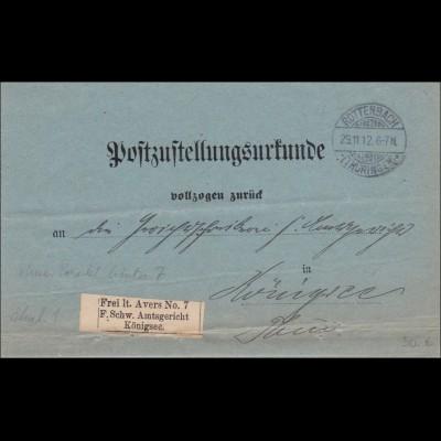 Post Zustellurkunde Rottenbach nach Königsee 1912 - Vignette