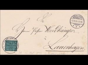 Bückeburg 1894 nach Lauenhagen - Vignette