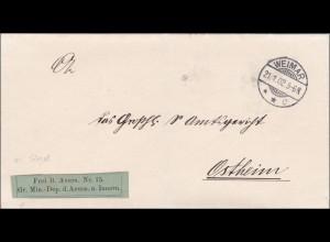 Ministerium des Innern Weimar 1902 nach Ostheim
