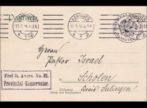 Postkarte Hannover 1914 nach Scholen