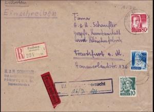 Französische Zone: R-Eilboten Freiburg nach Frankfurt: Eilzustellung Versucht