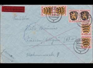 Französische Zone: Eilboten Brief von Koblenz nach Füssen 1946