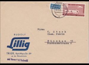 Französische Zone: Brief von Hermeskeil nach München 1949