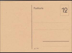 Französische Zone: Ganzsache - Postkarte