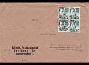 Französische Zone: Brief aus Freiburg nach Hamburg 1948