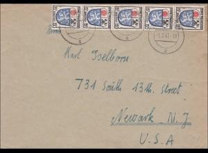 Französische Zone: Brief aus Winnweiler 1947 in die USA