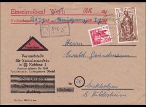 Französische Zone: Nachnahme VfS Koblenz nach Dickholzen 1947