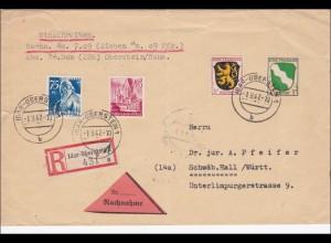 Französische Zone Nachnahme/Einschreiben Idar Oberstein nach Schwäbisch Hall1947