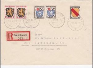Französische Zone: Einschreiben Saaarbrücken 1946 nach Hamburg