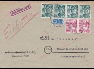 Französische Zone: Eilboten aus Bad Kreuznach 1949 nach Düsseldorf Grafenberg