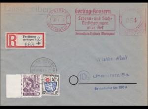 Französische Zone:R-Bf Freiburg nach Chemnitz 1949 - Freistempel Gerling Konzern