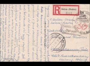 Französische Zone: Salem/Baden auf AK mit Sonderstempel 1946 nach Waltershausen